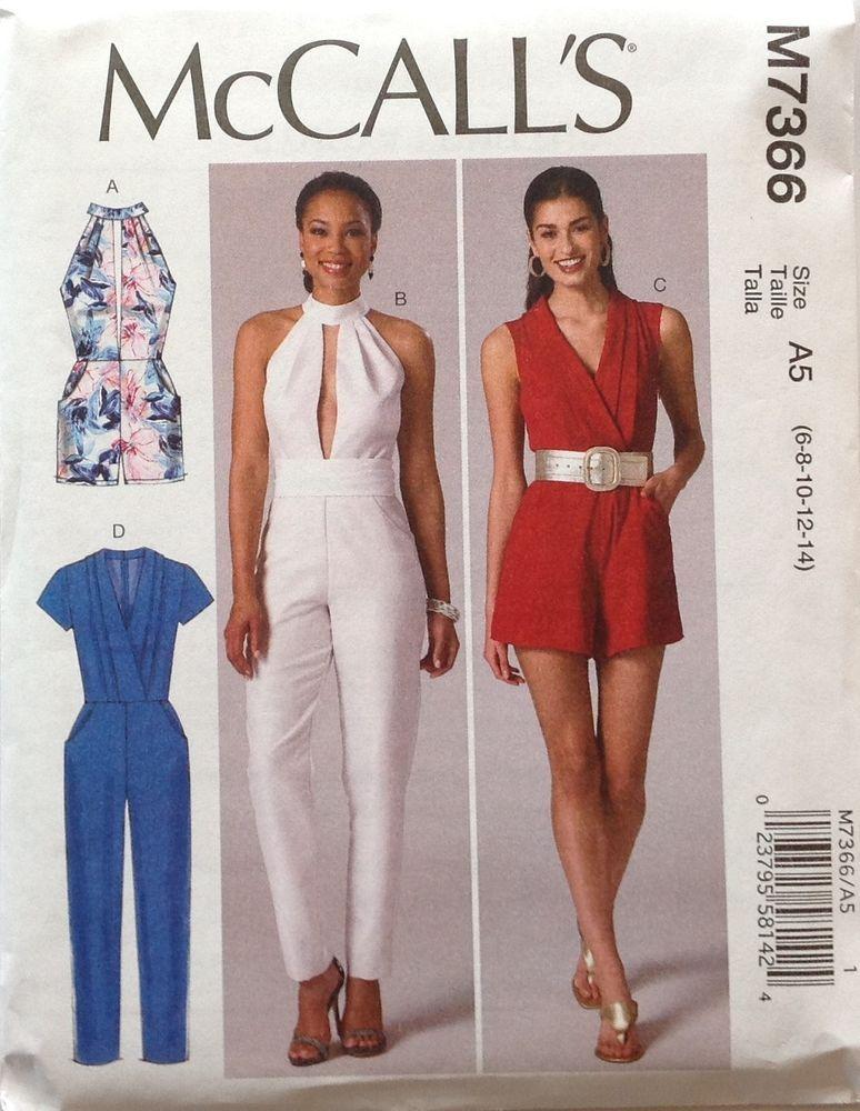 McCalls 7366 Misses Rompers, Jumpsuits & Belt Sizes 6-14 New Release ...
