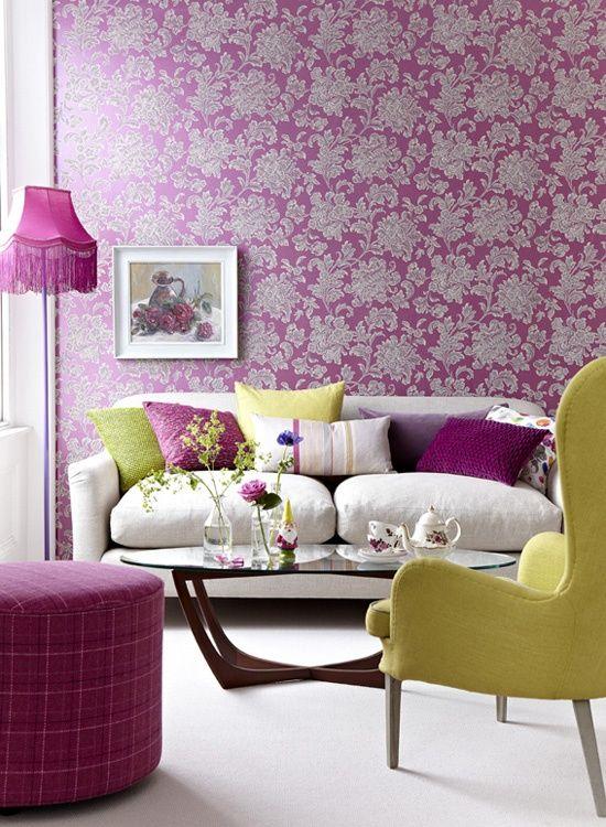 Kreative Wandgestaltung Im Wohnzimmer U2013 Ideen Für Farbenfrohe Tapeten  #farbenfrohe #ideen #kreative #