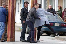 Josh Dallas and Ginnifer Goodwin on set March 15th, 2016. (Colin, Bex and Raphael also present in pics.)