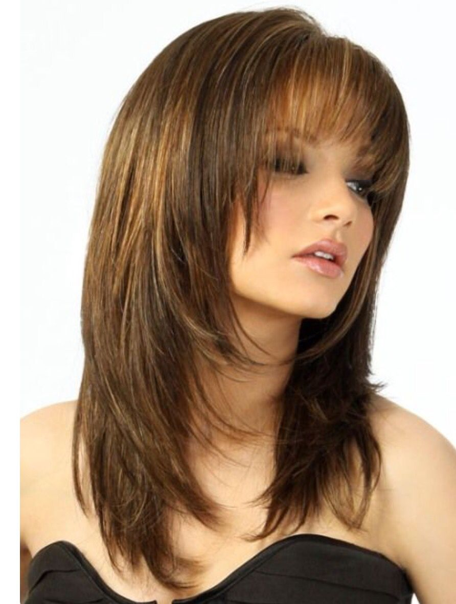 Round Face Layered Hair With Bangs Long Length 4