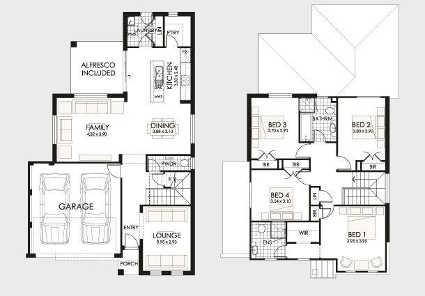 Plano de casa con diseño moderno y amplio jardín, 4 dormitorios-2