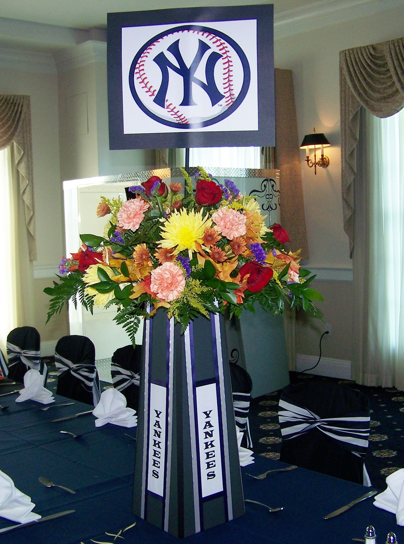 Ny Yankees Centerpiece For Sports Theme Bar Mitzvah By Omas Garden