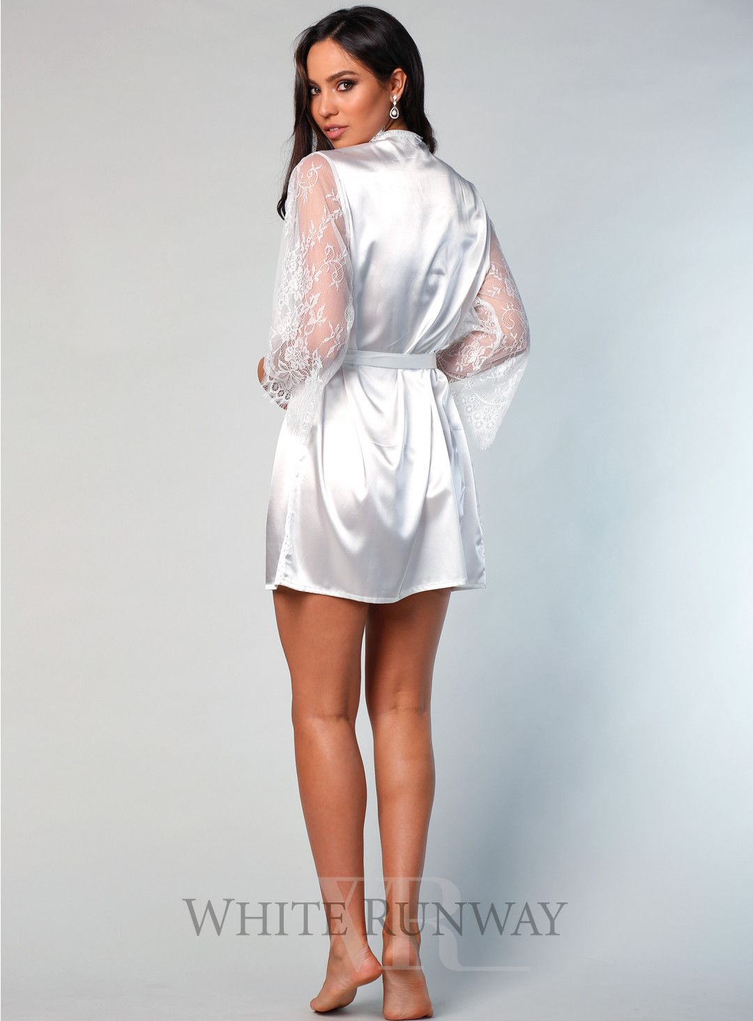 7459586ff8 Marsielle Satin Lace Robe. A beautiful mini robe by Samantha Rose. A satin  robe featuring lace sleeves and scallop eyelash lace trim on neckline and  front ...