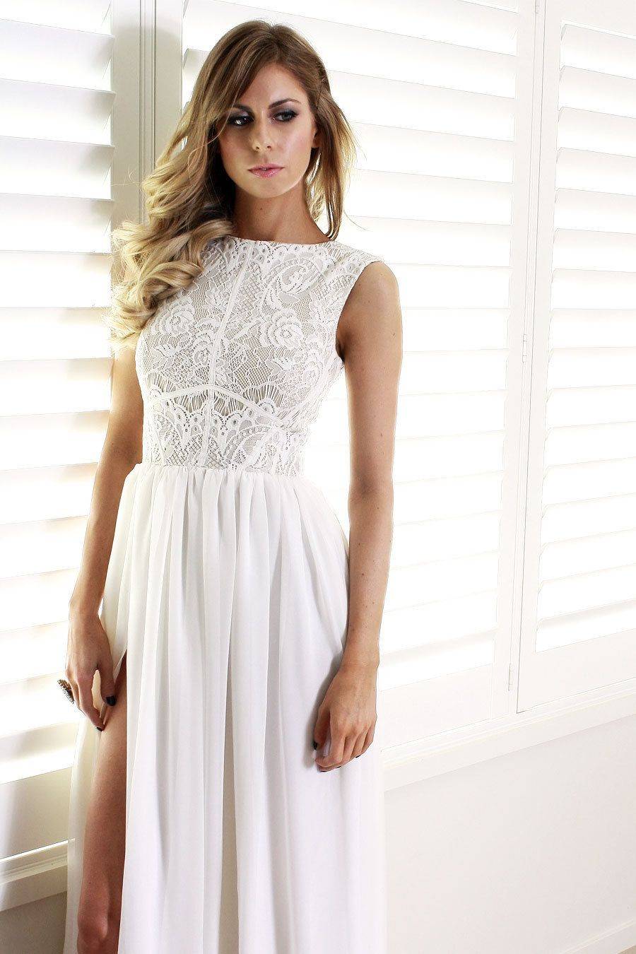 Ava white lace and silk formal prom bridesmaid by