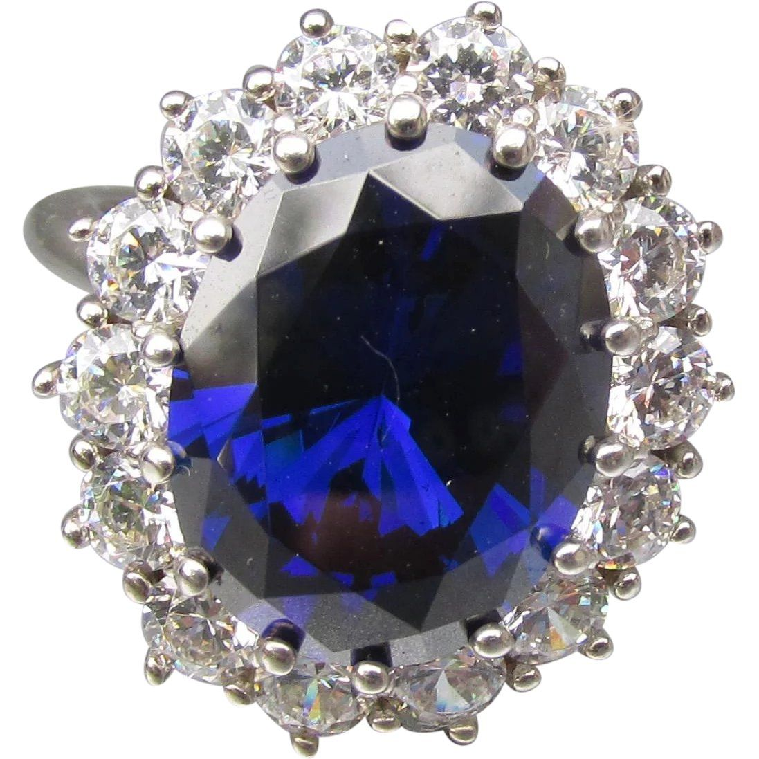 Princess Diana Sterling Silver 12 Carat Sapphire Cz Replica Engagement Ring Size 9 Found At Www Rubylane Com Vintageb Vintage Cocktail Ring Sapphire Rings