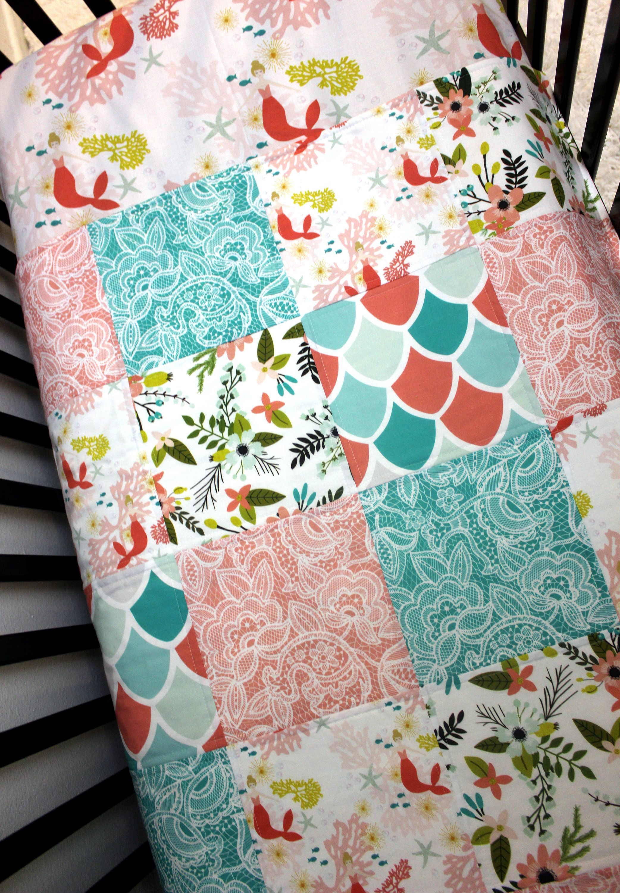 Teal Coral Mermaid Baby Girl Quilt & Fitted Sheet Girl Crib Set