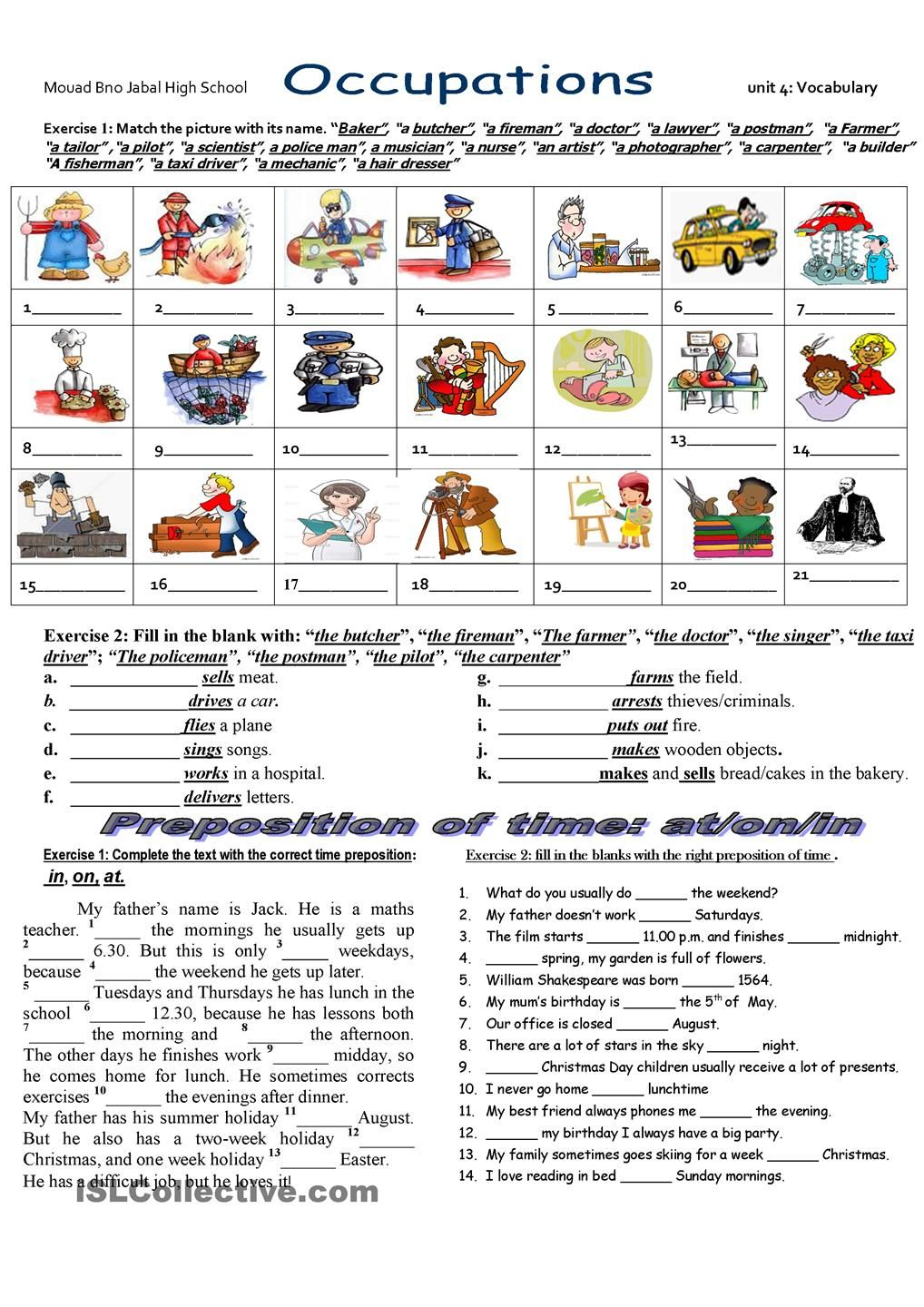 Job exercises and vocabulary 3 pages esl worksheets of the day students match the names with the occupation practice preposition of time exercises jobs work spelling beginner high school robcynllc Choice Image