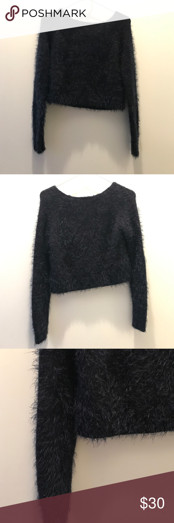 e5e580d0a41cc Brandy Melville Fuzzy Dark Blue Crop Sweater brandy Melville fuzzy Dark  Navy Blue crop top Sweater size Small Brandy Melville Tops Crop Tops