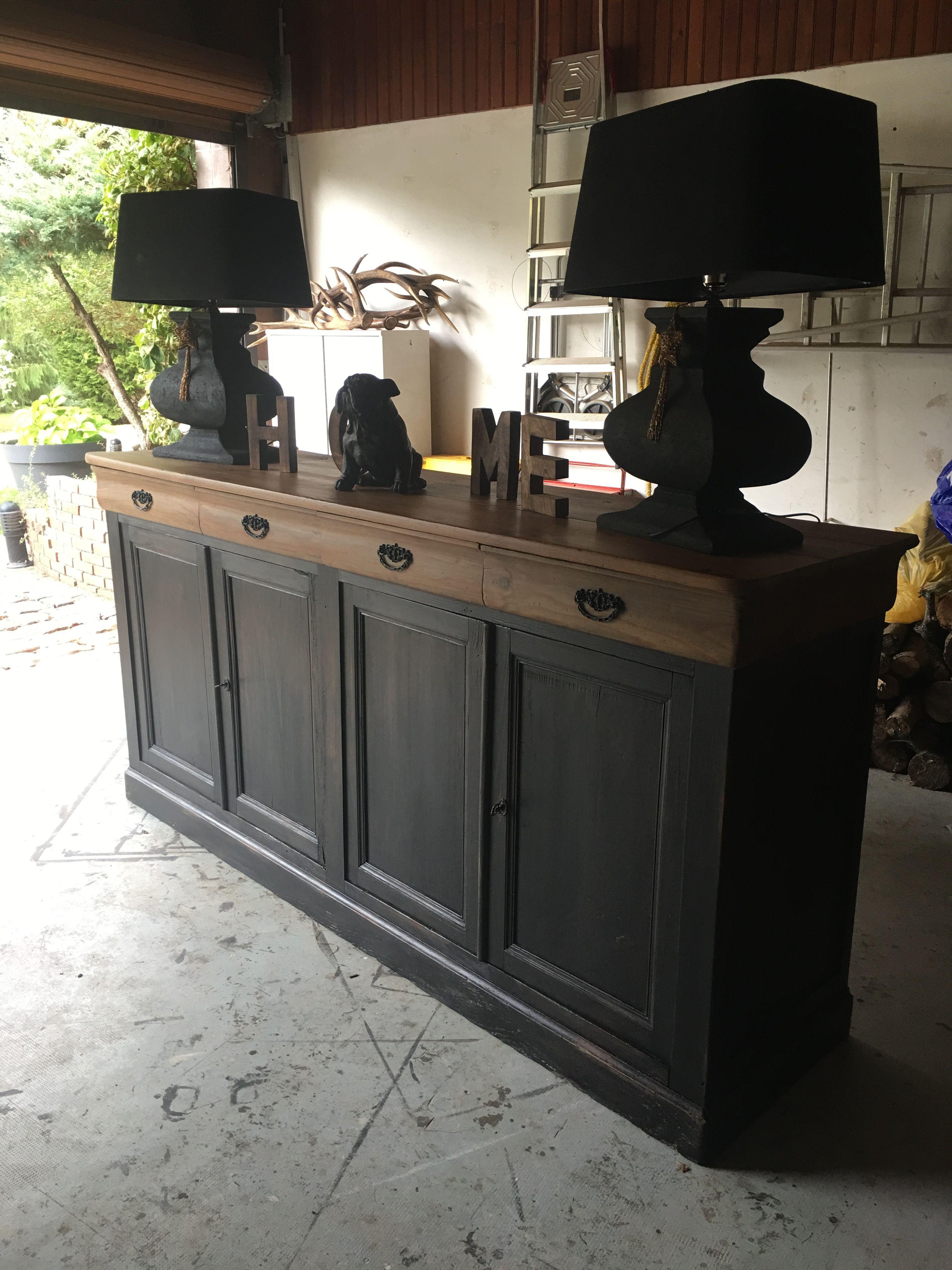 Ancien buffet de ferme patine noir et brut pour un look - Deco meuble ancien ...