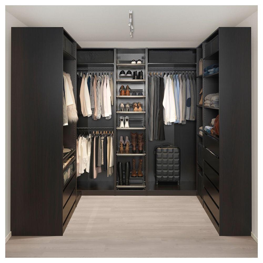 Dressing Ikea Angle Sans Porte corner wardrobe, black-brown, 82 3/4/107 1/2/82 3/4x93 1/8