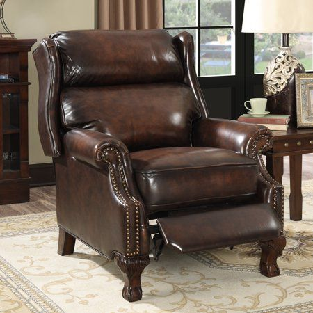 Fine Traditional Nailhead Leather Pushback Recliner Brown In Lamtechconsult Wood Chair Design Ideas Lamtechconsultcom