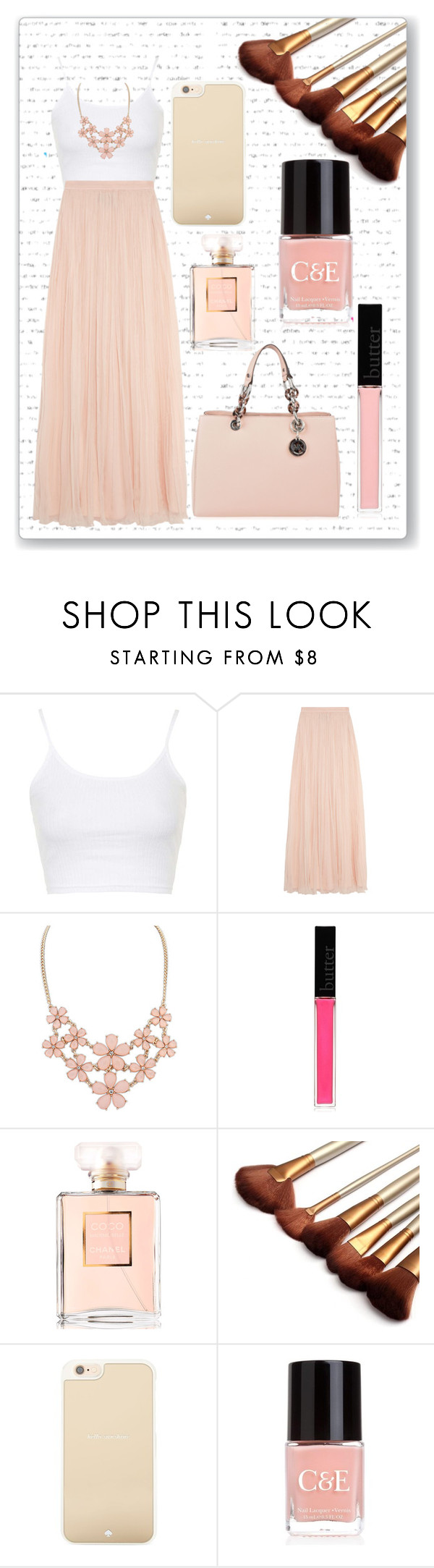 """""""Pretty"""" by pandoraprincess15 ❤ liked on Polyvore featuring Topshop, Needle & Thread, Butter London, Chanel, Kate Spade, Crabtree & Evelyn and MICHAEL Michael Kors"""