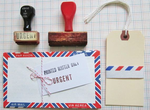 Retro Office Supplies 2 Vintage Wooden Office Stamps By Pomkats