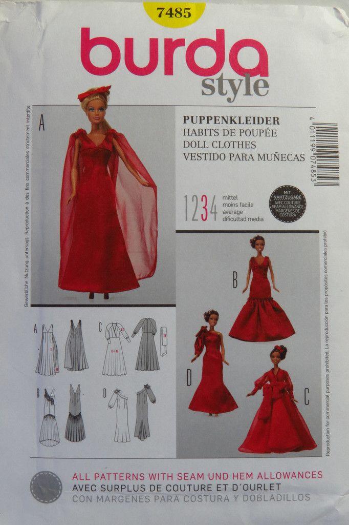 Burda 7485 Fashion Doll Clothes