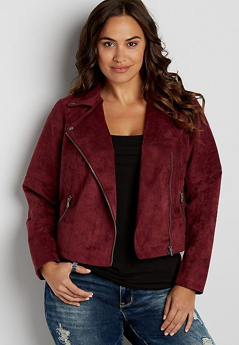 47e5cee4681 Plus size faux suede moto jacket in burgundy in 2019