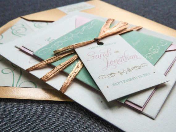 Mint Green And Gold Wedding Invitations: Wedding Invitation Shown In Gold, Mint Green, Pink