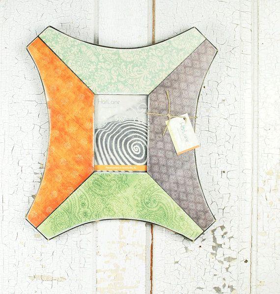 5x7 Frame  Orange Blue Green and Soft Black Decoupage by HartLaine, $49.00 #rt #boebot