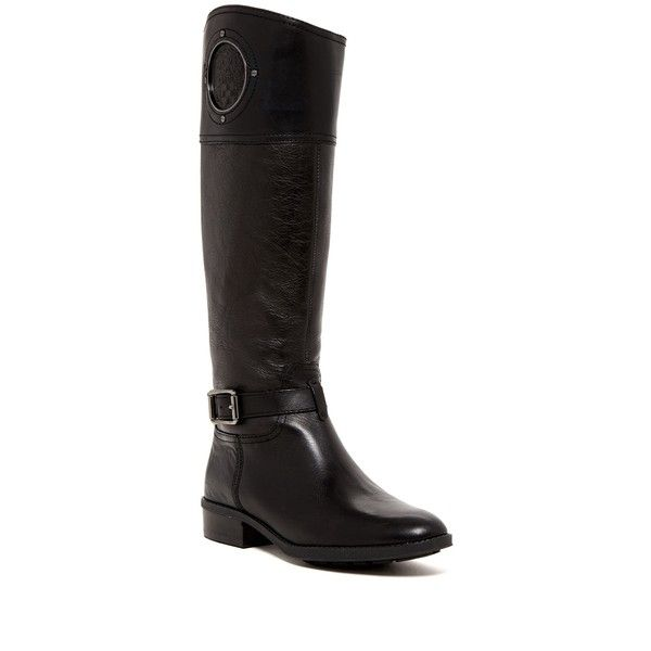 Vince Camuto Phillie Tall Boot ($120) ❤ liked on Polyvore featuring shoes, boots, knee-high boots, almond toe boots, low heel boots, block heel knee high boots, block heel boots and short heel boots