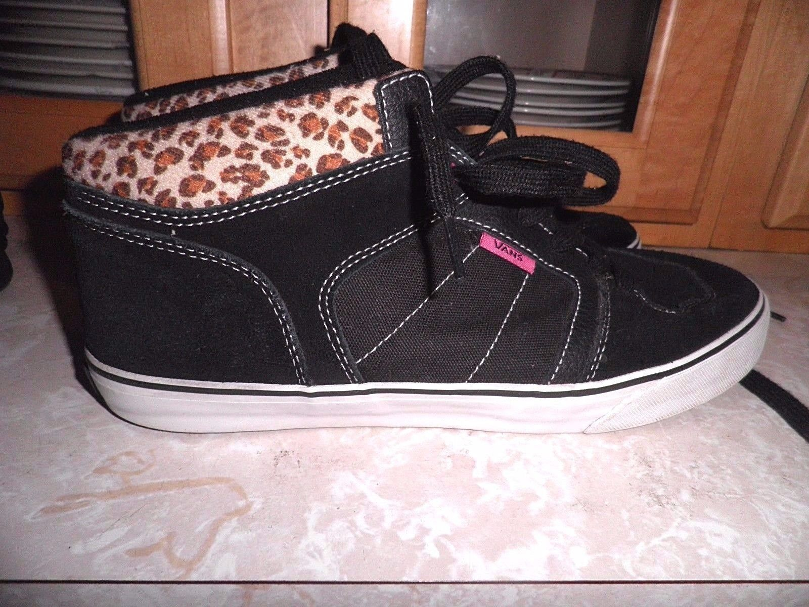 bc165a21d116 Very Rare Womens Vans Half Cab/Chukka Black Suede with Animal Print Tops  Size 10 | eBay