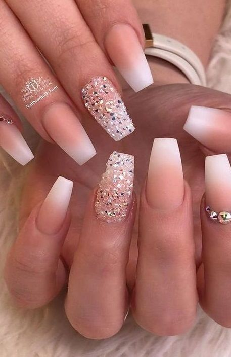 71 Best Inspirational Ombre Nails Idea You Should Try For Summer 2020 In 2020 Bride Nails Ombre Acrylic Nails Prom Nails