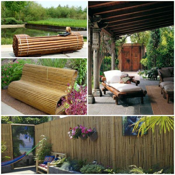 bambusrohre bambuszaun sichtschutz bambusmobel garten - gartengestaltung mit holz