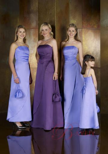 Column Lavender Spaghetti Straps Satin Ankle Length Junior Bridesmaid Dresses