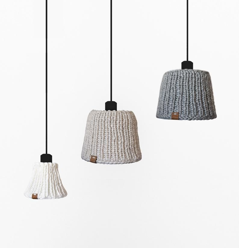 Woolen Lampshade Scandinavian Style Handmade Knitted Lampshade Interesting Unique Lampshade Home Decoration Ceiling Or Table Lamp Boho Interior Design Boho Interior Energy Saving Bulbs