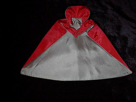 Antique Doll Cape Red Satin with sage lining Adorable
