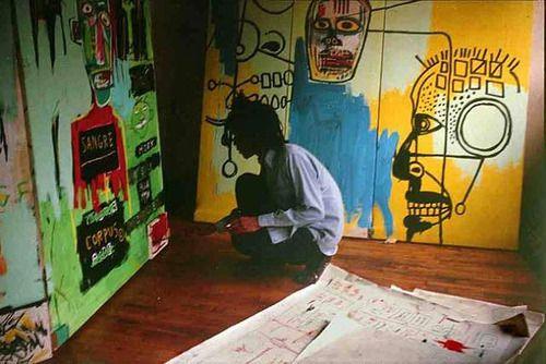Basquiat working in his studio  The Radiant Child, 1981