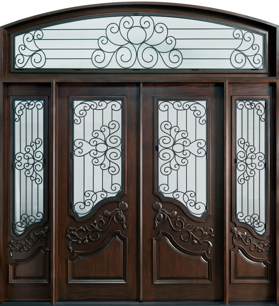 Dark Brown Polished Wooden Door Mixed With Carved Wrought Iron