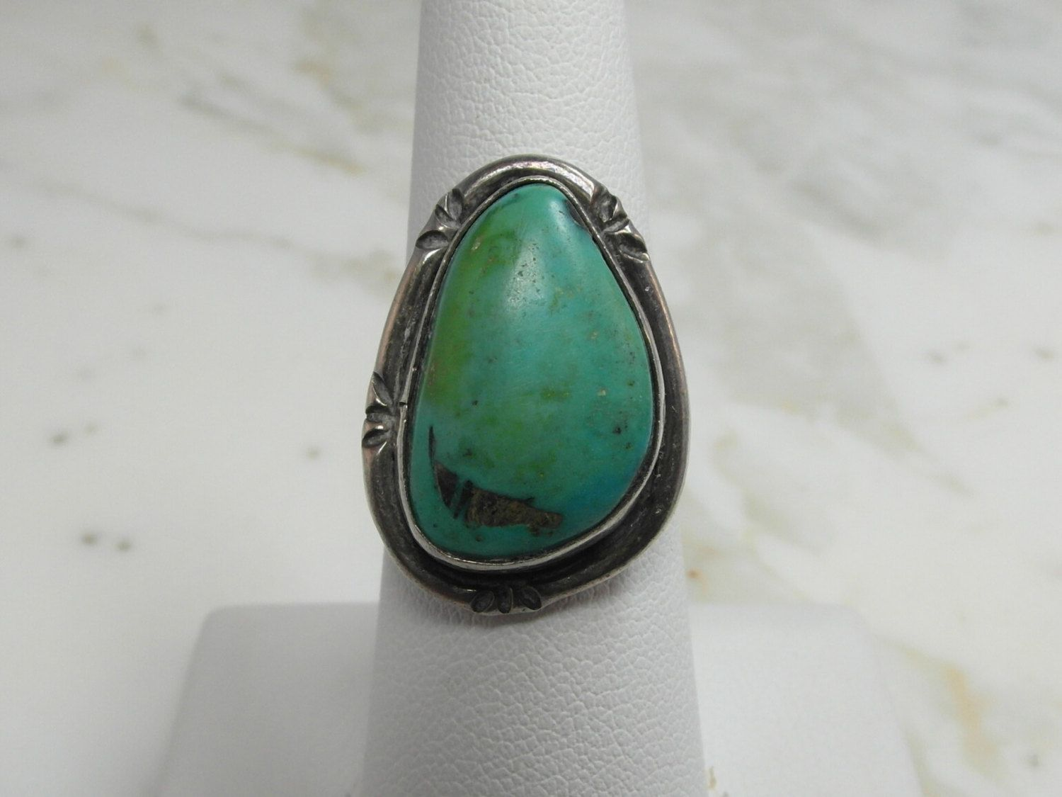 Sweet Little Native American Sterling Silver Turquoise Old Pawn Ring by…