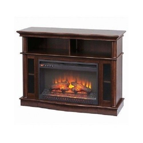 Electric Fireplace Tv Stand Heater Wood Brown Finish Non Flame Storage Shelves Fireplace Tv Stand Electric Fireplace Tv Stand Best Electric Fireplace