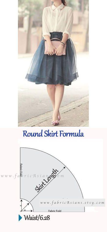 How to sew round skirt? Circle dress pattern FREE   dibujos ...
