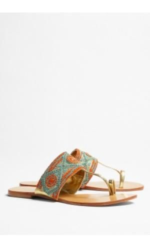 e2a8a2bed STAR MELA IMANI ORANGE AND TURQUOISE FLAT BEADED SANDALS ...