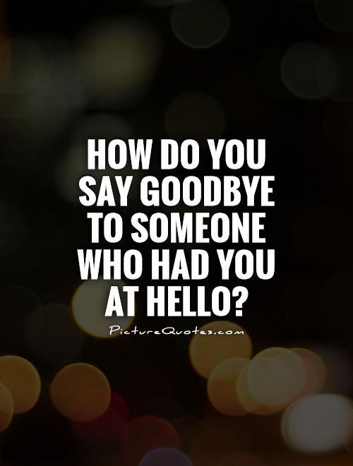 How Do You Say Goodbye To Someone Who Had You At Hello Picture