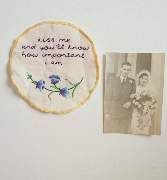 Vintage reworked embroidery with Sylvia Plath quote by Intwosandthrees on Etsy