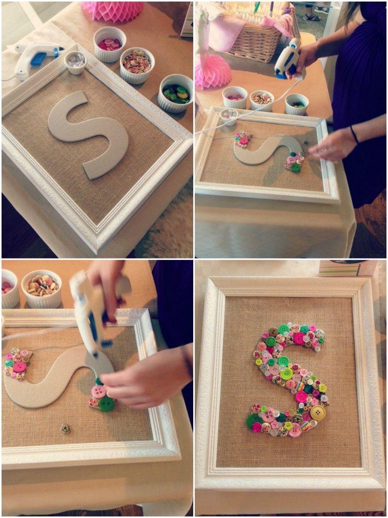DIY Baby Shower Button Monogram Craft  Collage 4
