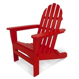 Polywood Clic Adirondack Sunset Red Plastic Folding Patio Chair Ad5