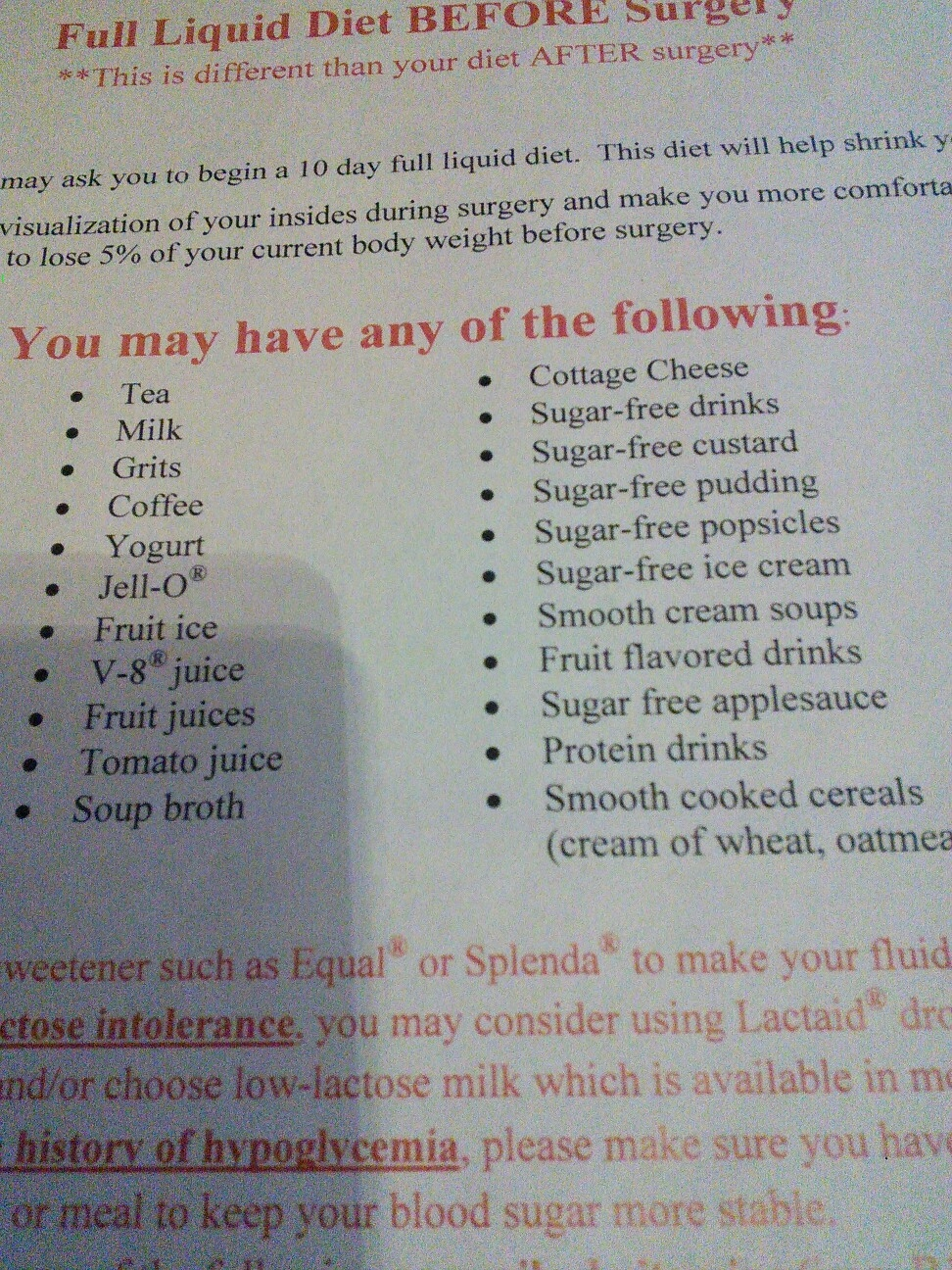 liquid diet before stomach surgery