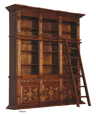 Tall Library Bookcase With Ladder Library Bookcase Bookcase Luxury Furniture