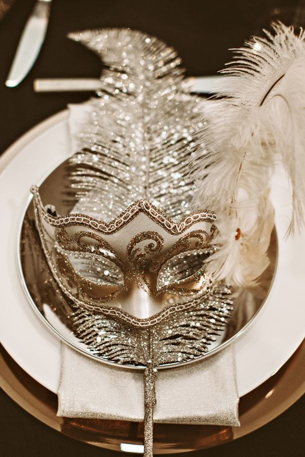 a mask at each table for a new years or mardi gras party photo by hazelwood photo