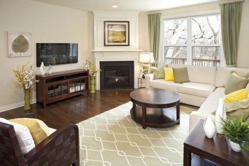 Elegant Living Room Organization With Traditional Furniture Sectional Sofa And Corner Fi Corner Fireplace Living Room Comfy Living Room Decor Livingroom Layout