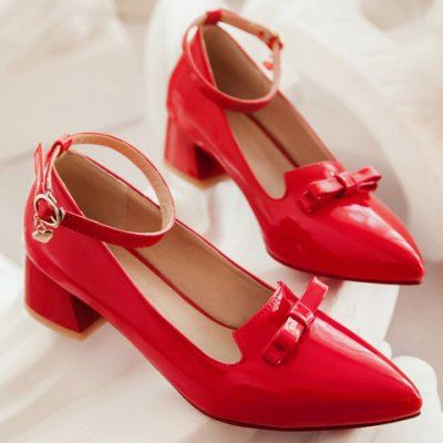 Wholesale Retro Style Bow and Patent Leather Design Women's Pumps (RED,39) | Everbuying