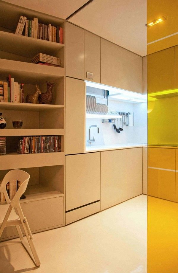Closet House 03 671x1024 Intelligent and Hi Tech Small Apartment ...