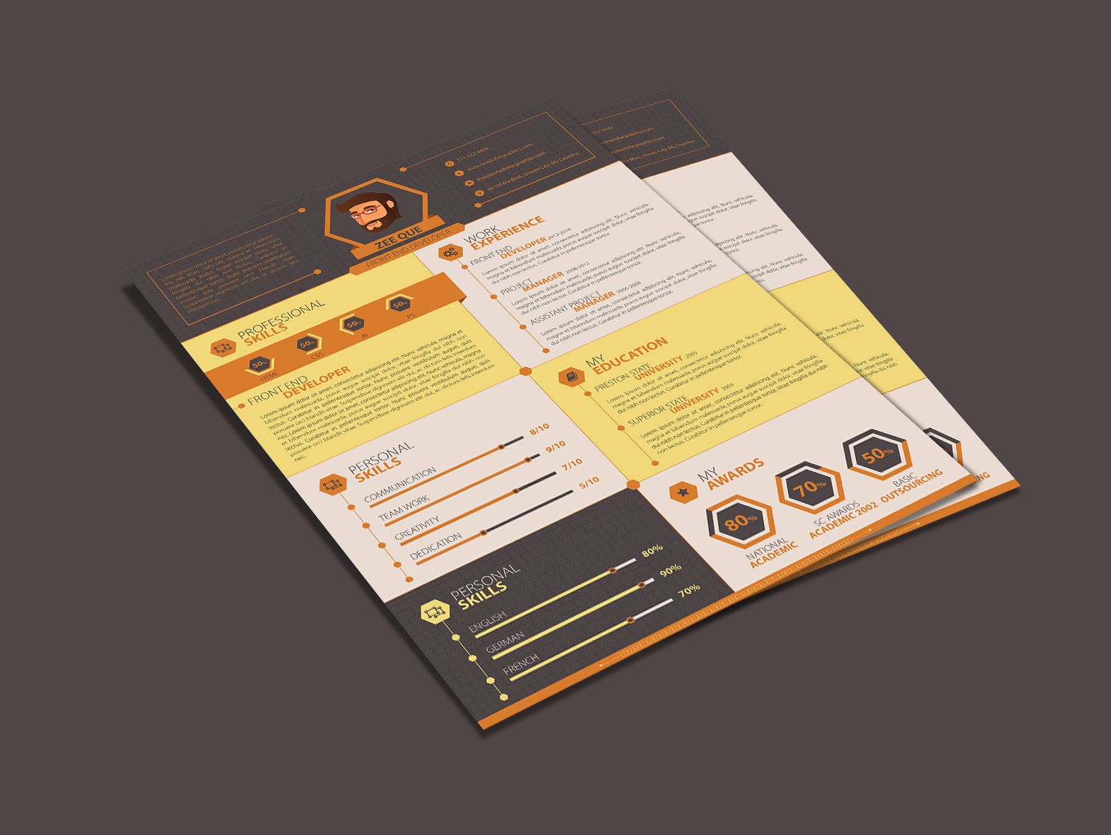 resume Flat Resume Design flat resume template for web developers ai pinterest design designer developer good resume