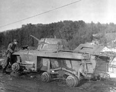 This is a Steyr AFGZ heavy armored car left abandoned with it's standard large sized rims and tires having removed.