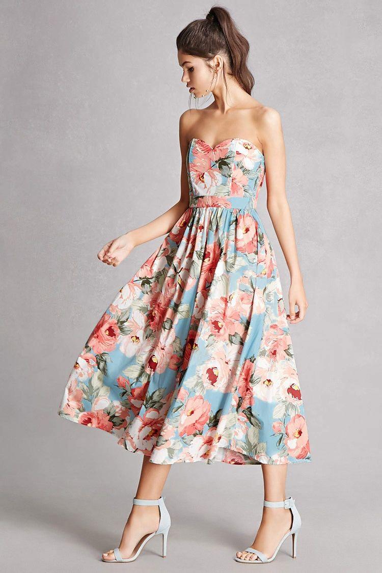 Floral Sweetheart Midi Dress Dresses Bridesmaids Dress Inspiration Warm Fashion [ 1125 x 750 Pixel ]