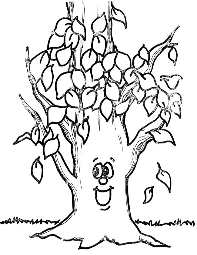 Leaves Falling From Tree Colouring Pages Fall Coloring Pages