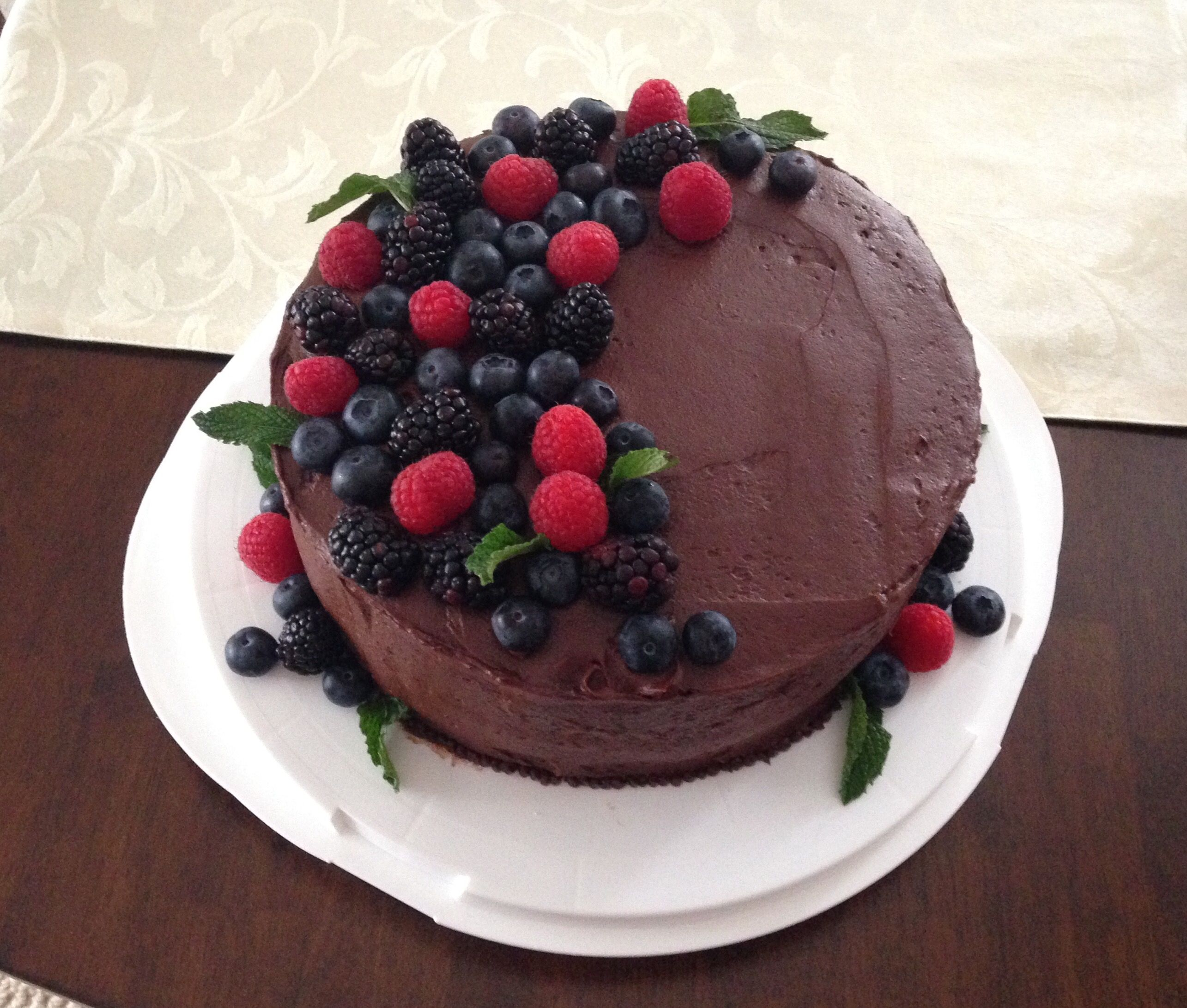 Hershey's chocolate cake with Hershey's chocolate frosting. Mix of ...