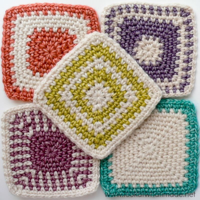 Regular Crochet Linen Stitch Squares ༺✿ƬⱤღ✿༻   motivos em ...